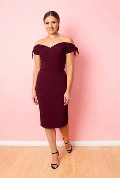 Fatale Bow Pecil Dress - Grape