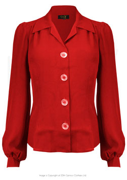40s Long Sleeve Shirt Blouse - Scarlett Red