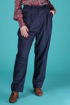 The Slender Slacks - Navy Pinstripe Tweed