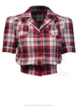 40's Land Girl Blouse - Red Ckeck