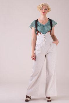 The Miss Fancy Pants Slacks - Cream Herringbone Linen