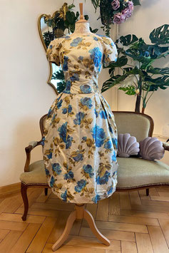 True Vintage Flower Dress - Blue/Offwhite