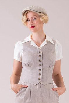 The Gentlewoman Waistcoat - Sand Herringbone Linen