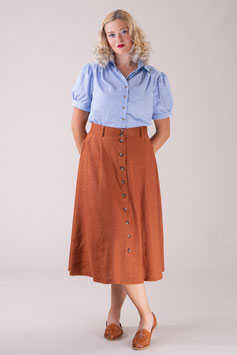The Vixen Voyager Skirt - Cinnamon Linen