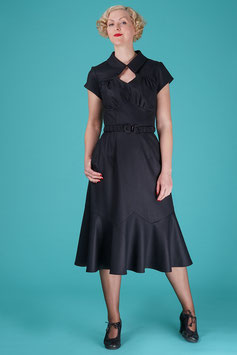 The Glorious Gladrags Dress With Cape - Black Wool