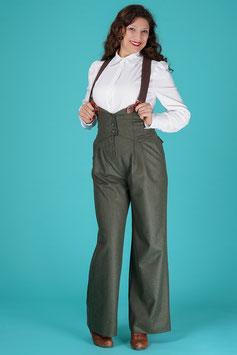 The Miss Fancy Pants Slacks - Pine Green Wool