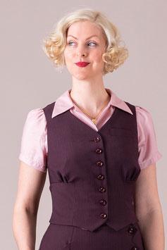 The Gentlewoman Waistcoat - Plum Pinstripe