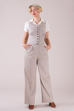 The Good Old Grandpa Pants - Sand Herringbone Linen