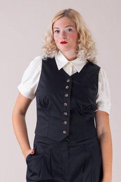 The Gentlewoman Waistcoat - Black Rib Weave
