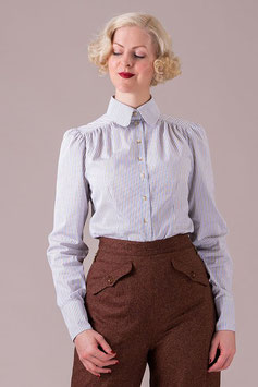 The Dandy Dame Shirt - Brown Stripe