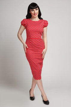 Polka Dot Pencil Dress Red