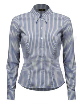 Spearpoint Collar Shirt - Blue Stripe