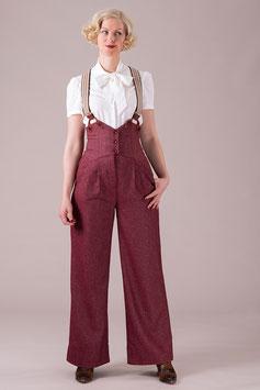 The Miss Fancy Pants Slacks - Burgundy Tweed