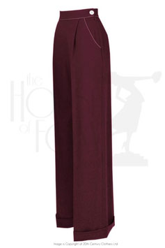 40s Hepburn Pleated Trousers - Berry