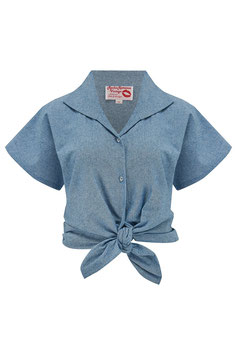 """Tuck in or Tie Up """"Maria"""" Blouse - Lightweight Blue Denim, Cotton Chambray, Authentic 1950s"""