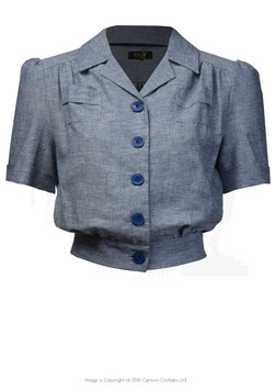 40's Land Girl Blouse - Blue