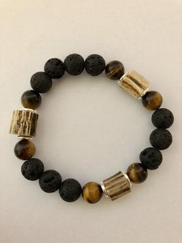 Hornperlen Armband Lava Stones / Tigerauge