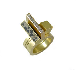 Diamond & Dalmatian Jasper Ring Set