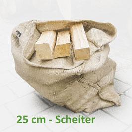 1 Sack Brennholz 25 kg, 25 cm Scheiter