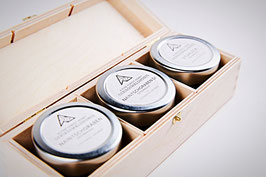 Wooden box for 3 glasses of honey, 85g 3 oz each