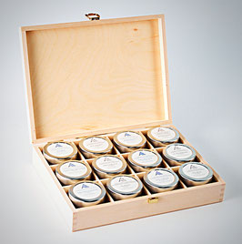 Wooden box for 12 honeys of 85g each