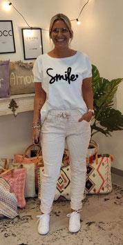 Tshirt SMILE Weiß/Schwarz