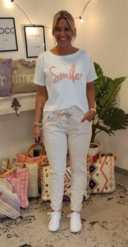 Tshirt SMILE Weiß/Altrosa