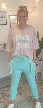 """T-Shirt """"BEACH PLEASE"""" Rosa"""
