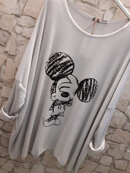 """Feinstrickpulli """"Mickey"""" Ecru/ Hellgrau"""