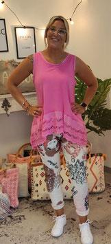Top Lochstickerei MIA Pink