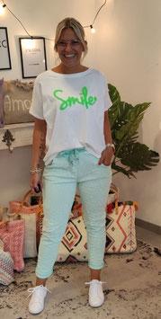 Tshirt SMILE Weiß/Grün Neon