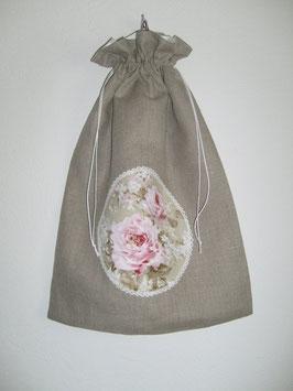 Sac à lingerie lin et roses anciennes
