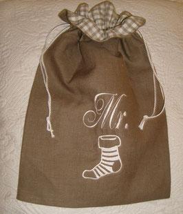 sac à chaussettes lin marron