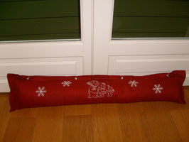 Boudin de porte rouge broderie hiver