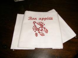 serviettes brodées crustacés