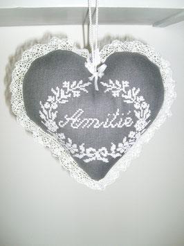 coeur amitié lin gris anthracite brodé blanc COA01