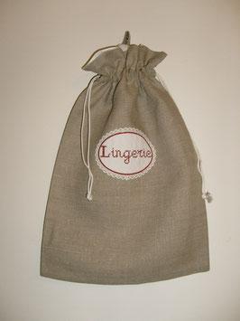 sac lingerie en lin brodé rouge
