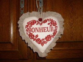 coeur bonheur lin blanc, brodé rouge COB08