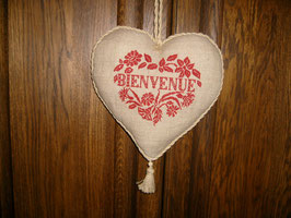 coeur bienvenue GM lin naturel broderie rouge COB05