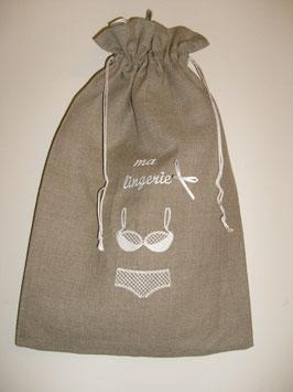 Sac lingerie lin brodé