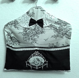 Cintre vide poches toile de jouy
