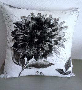 housse coussin lin blanc fleur noire