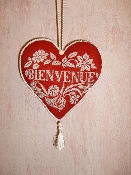 coeur bienvenue rouge brodé blanc COB07