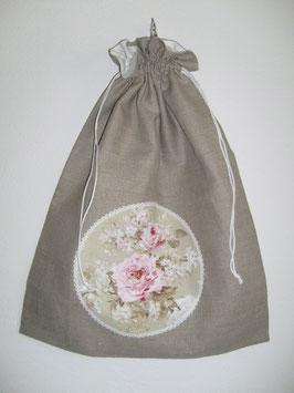 Sac à linge lin et fleurs roses