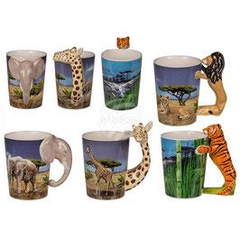 TASSE | Becher | Wildlife | Löwe, Elefant, Tiger und Giraffe | 11x9cm |