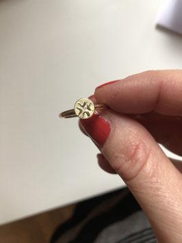Engelsymbol - Ring Wiebke Gottschalk 925er SILBER & 585er GOLD, mit 1 Brillant, 2mm Stärke