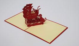 Popgrats Kinderwagen und Hund 3D Grußkarte