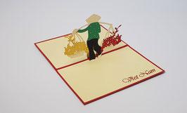 Popgrats Vietnamesische Blumen Verkäuferin 3D Grußkarte