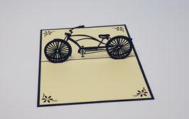 Popgrats Blaues Vintage Fahrrad 3D Grußkarte