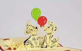 Popgrats Hunde mit Luft Ballon 3D Grußkarte